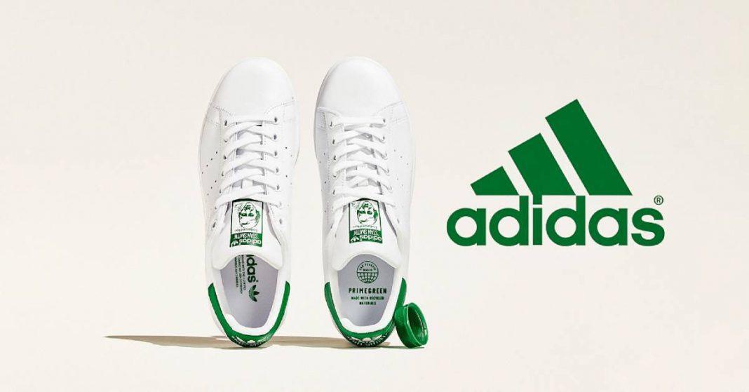 Bottiglie di plastica e scarpe Adidas